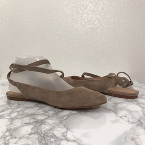 Madewell Shoes - Madewell Suede April Ankle Wrap Flats 7.5